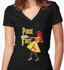 PURSE FIRST Women's Fitted V-Neck T-Shirt