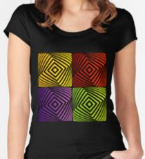 Colorful optical illusion with squares  Women's Fitted Scoop T-Shirt