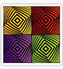 Colorful optical illusion with squares  Sticker