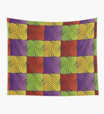 Colorful optical illusion with squares  Wall Tapestry