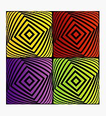 Colorful optical illusion with squares  Photographic Print