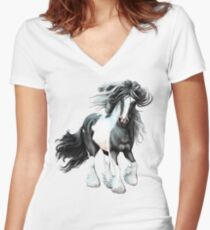 Prince, Gypsy Vanner Horse Women's Fitted V-Neck T-Shirt