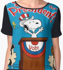 Vote President Peanuts Women's Chiffon Top