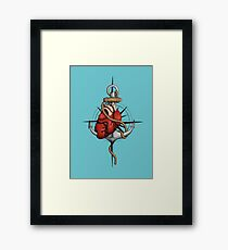 Love and Sea (anchor with heart and compass) Framed Print