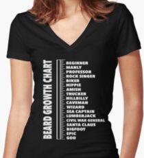 Beard Length Ruler T-shirt Growth Chart Joke Gift Men's Funny Mens Women's Fitted V-Neck T-Shirt