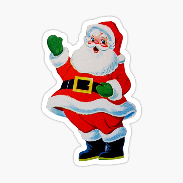 Retro Vintage Waving Christmas Santa Claus Sticker