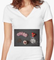 Raw vegetables for healthily cooking Women's Fitted V-Neck T-Shirt