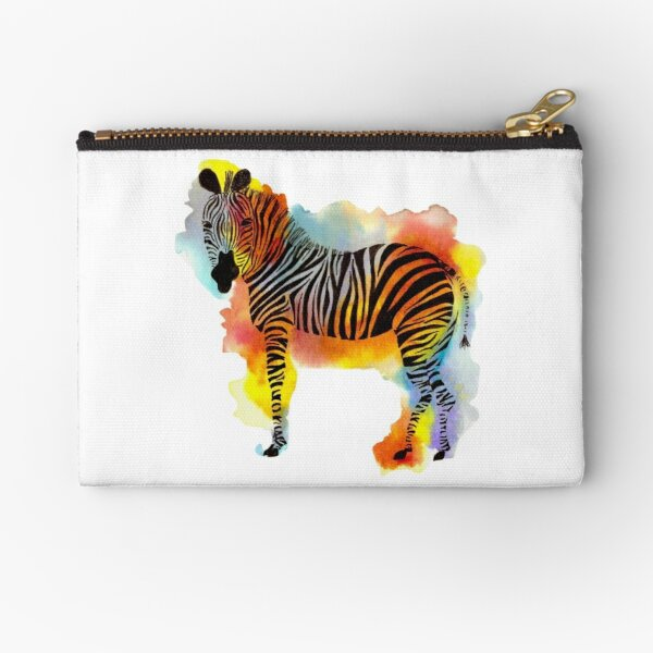Think Zebras - Rainbow Watercolor Zebra Zipper Pouch