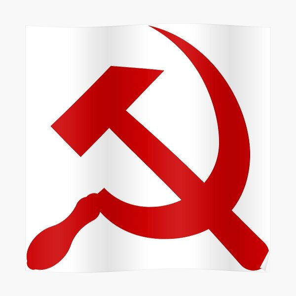 A red hammer and sickle design from the naval ensign of the Soviet Union Poster