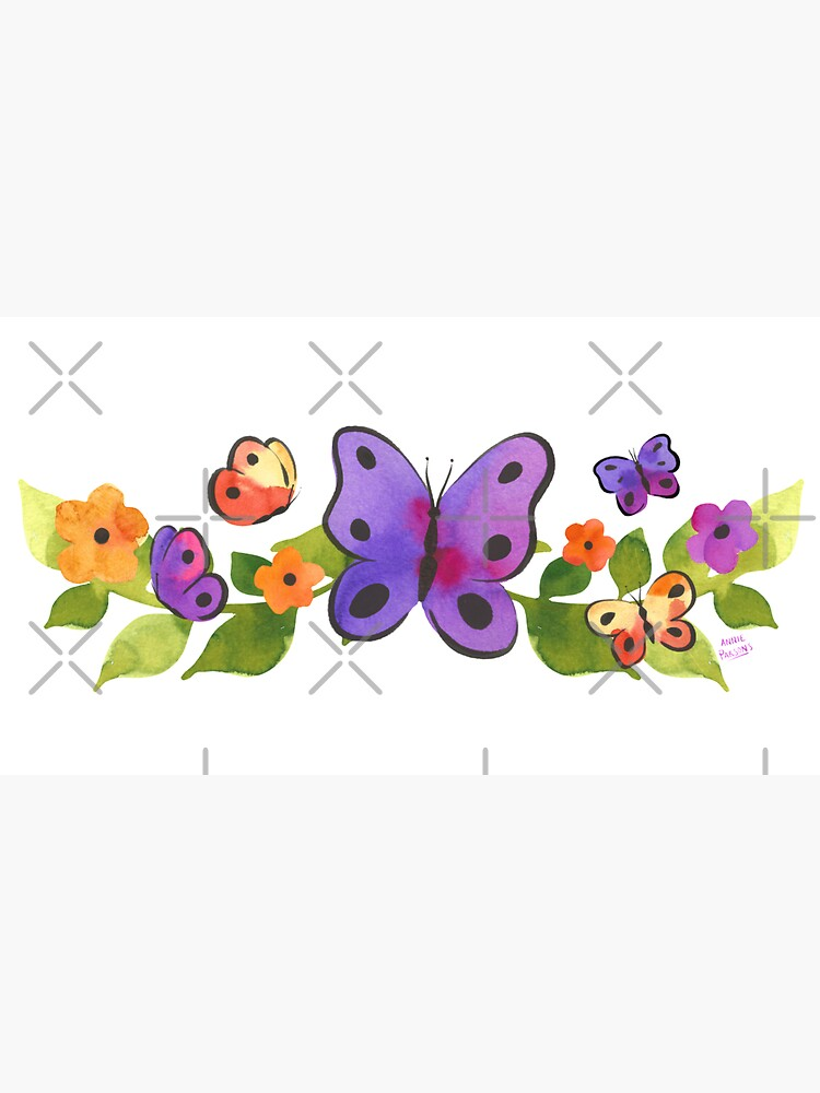 Watercolor Butterfly Floral by annieparsons