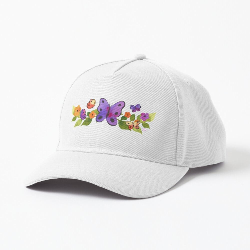 Watercolor Butterfly Floral Cap