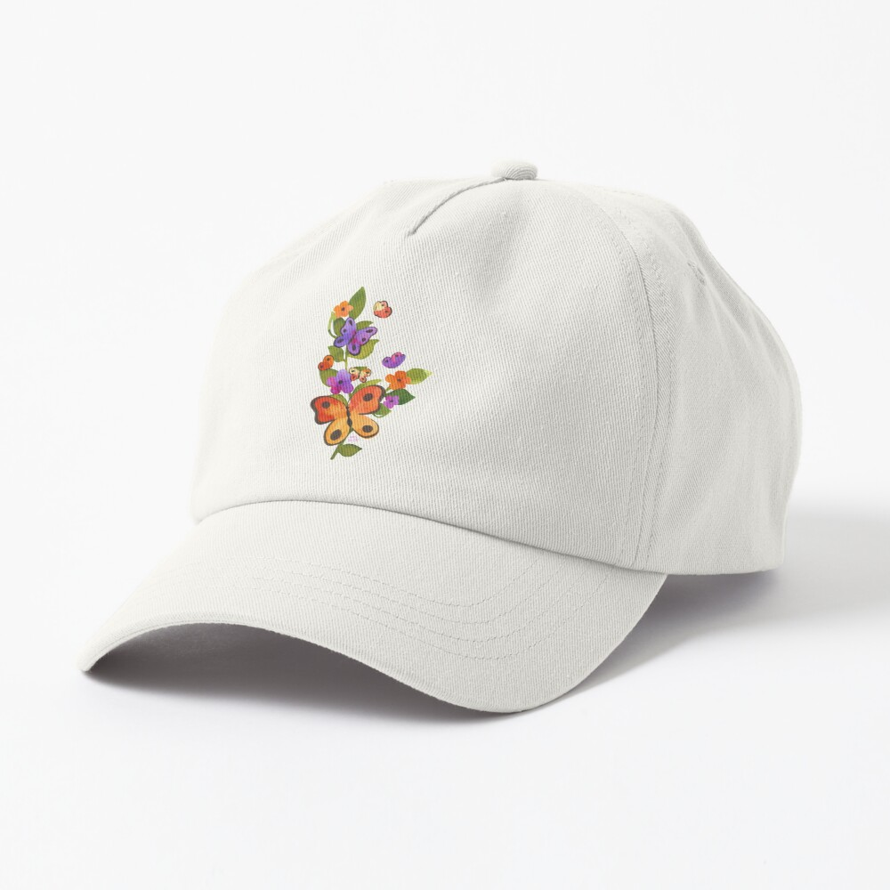 Watercolor Butterfly Floral - Vertical Cap