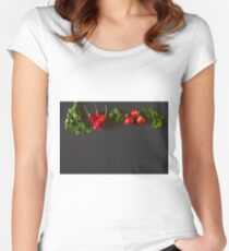Red and green raw vegetables Women's Fitted Scoop T-Shirt