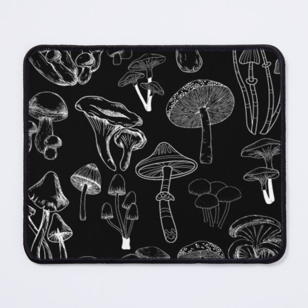 Mushroom Fungi Pattern (in white) Mouse Pad