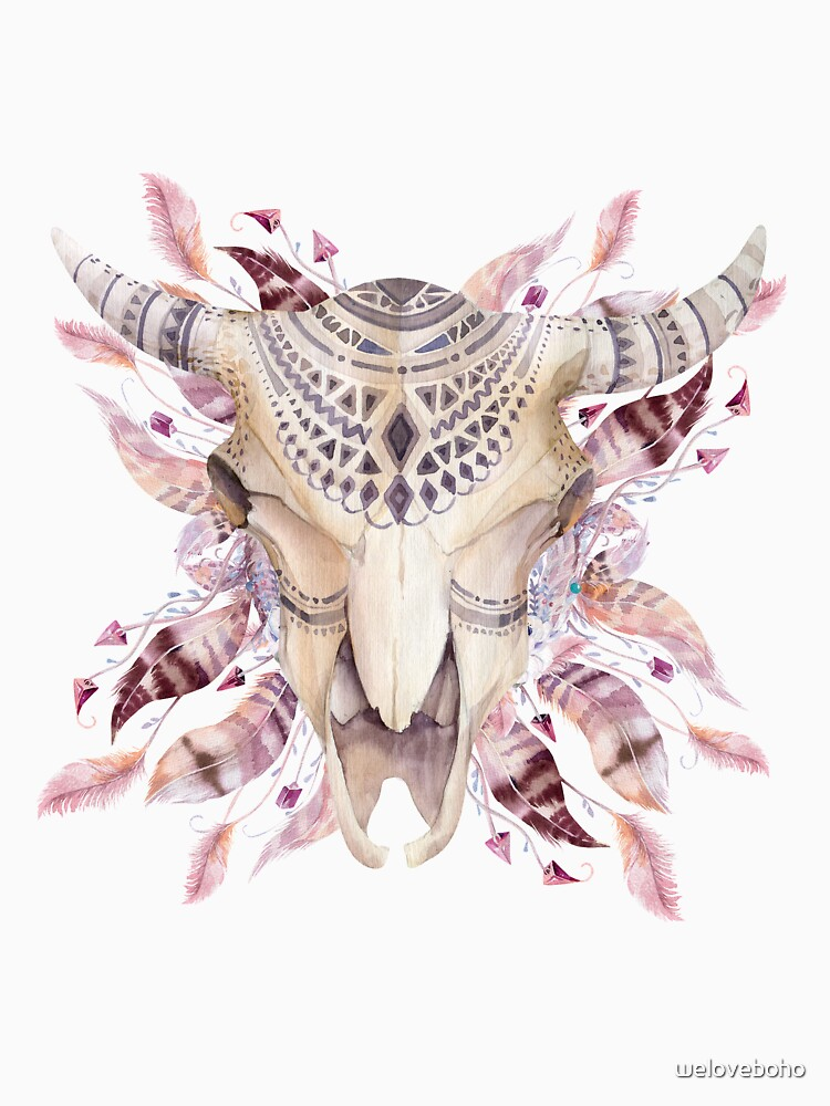 Cow skull with feathers de weloveboho