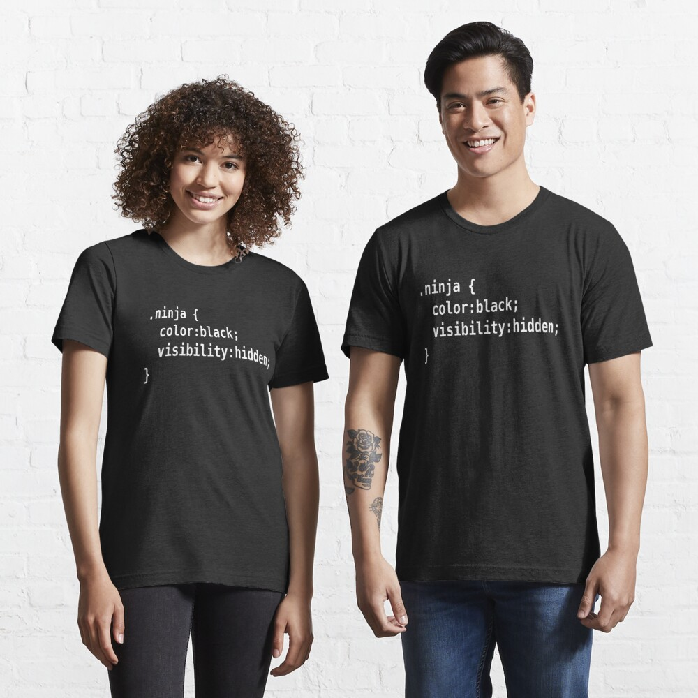 CSS Class Ninja White on Black Design for Web Developers Essential T-Shirt