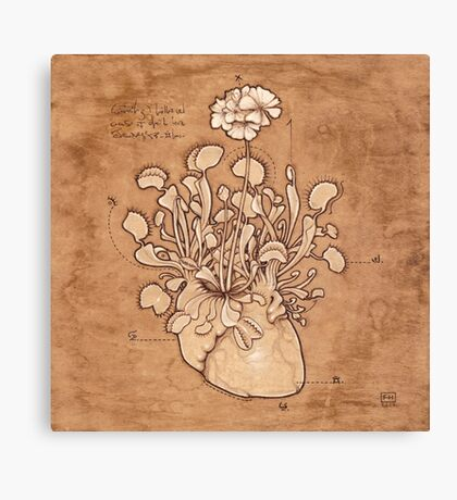 Venus Fly Trap Heart Canvas Print