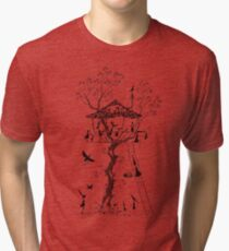 Pen and Ink Illustration of a Treehouse inhabited by Mice, Rabbits and Birds Tri-blend T-Shirt
