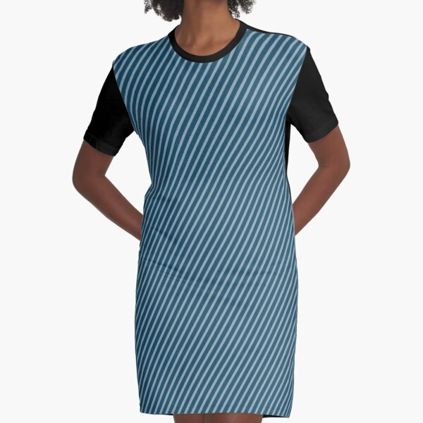Blue diagonal lines Graphic T-Shirt Dress