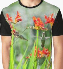 Hummingbirds in Summer Garden Graphic T-Shirt