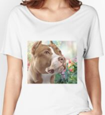 Pit Bull Painting  Women's Relaxed Fit T-Shirt