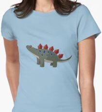 Classic Cartoon Stegosaurus Dinosaur Print T-Shirt