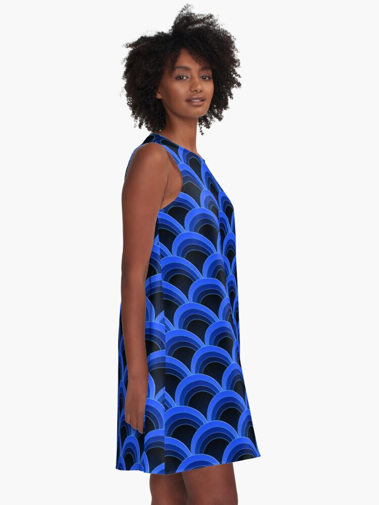 Alternate view of Japanese Waves Ornament 2 A-Line Dress