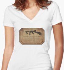 Thompson Submachine Gun. Women's Fitted V-Neck T-Shirt