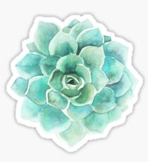 Blue-Green Succulent Watercolors Illustration Sticker