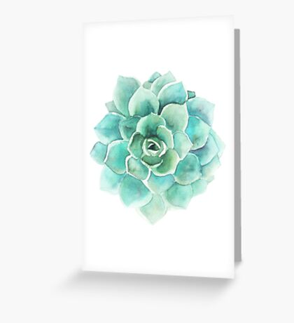 Blue-Green Succulent Watercolors Illustration Greeting Card