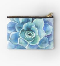 Watercolor blue tones succulent illustration Zipper Pouch