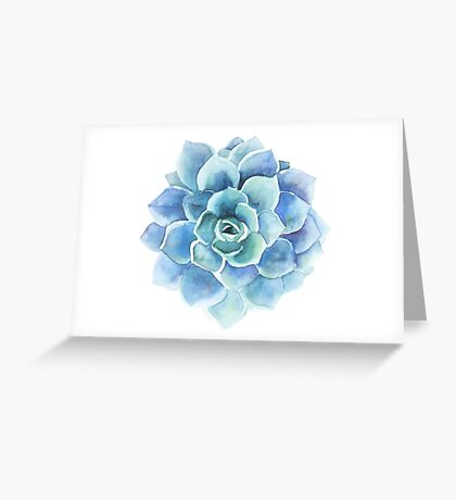 Watercolor blue tones succulent illustration Greeting Card
