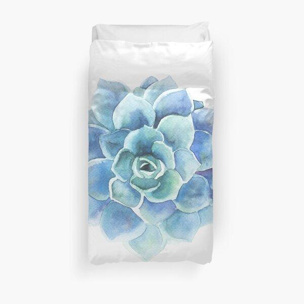 Watercolor blue tones succulent illustration Duvet Cover
