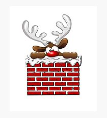 Santa Claus Christmas Reindeer, Funny T-Shirts, Holiday Gear Photographic Print