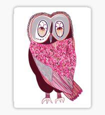 Pink Fern Owl Sticker
