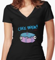 CAKE BREAK (down) Women's Fitted V-Neck T-Shirt