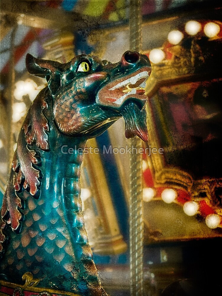 Colorful carousel dragon by Celeste Mookherjee