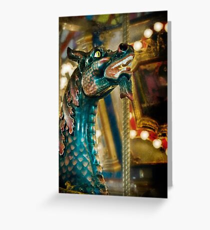 Colorful carousel dragon Greeting Card