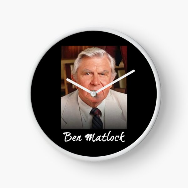 Ben Matlock Funny Tv Lawyer Drama White Retro Vintage 80'S Sitcom Matlock Clock