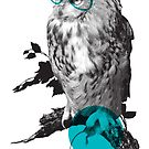 Hipster Owl - sticker by rustyfeathers