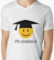 Ph.inishe.d Phd Doctoral Cap Smiley Men's V-Neck T-Shirt