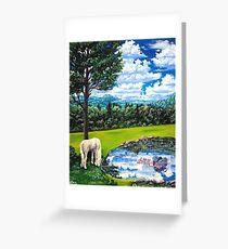 white horse named Sam Greeting Card