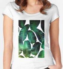 Cosmic Banana Leaves #redbubble #lifestyle Women's Fitted Scoop T-Shirt