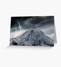 Rainbow and Lightning Bolt Over Snow Covered Mountains Greeting Card