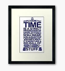 DOCTOR WHO TYPOGRAPHY T Shirt Doc Dr BBC Tardis Time Dalek New Tenth Timey Wimey Framed Print