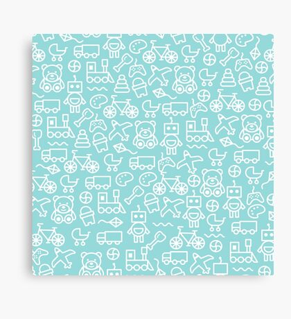 Cute Toy Pattern - Blue Canvas Print