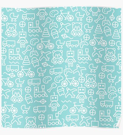 Cute Toy Pattern - Blue Poster