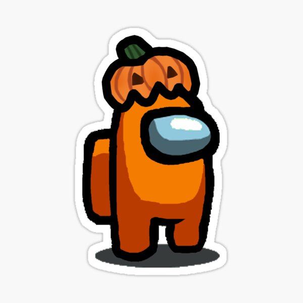 Orange Among Us Character With halloween funny Pumpkin Sticker