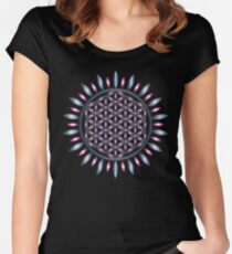 SACRED GEOMETRY - FLOWER OF LIFE - SPIRITUALITY - YOGA - MEDITATION Women's Fitted Scoop T-Shirt