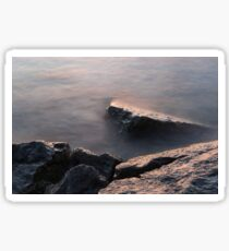 Rough and Soft - Rocks on the Beach at Sunrise Sticker